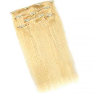 Zestaw włosów doczepianych Clip-on w kolorze jasny blond, składający się z 5 części zgodnie z opisanymi parametrami