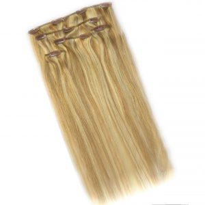 Zestaw Clip-on w kolorze pasemek blond, składający się z 5 części